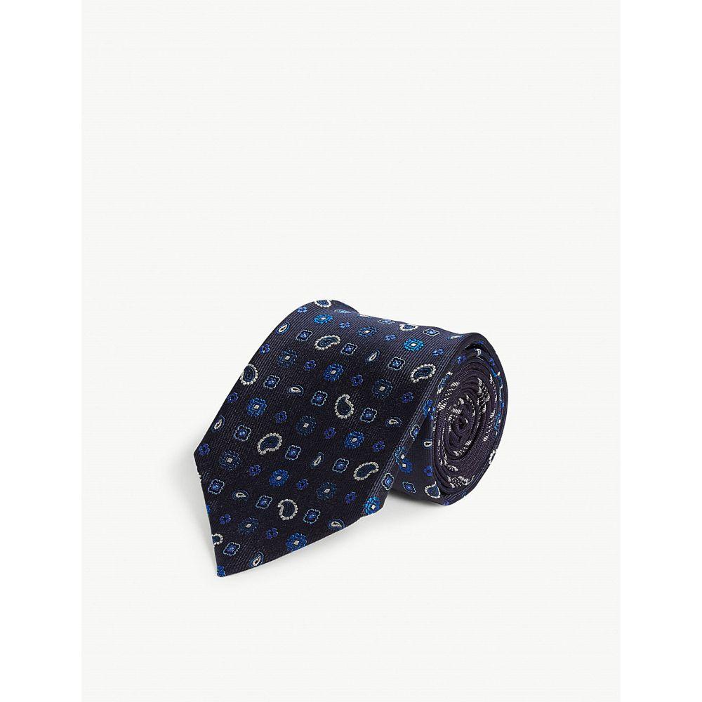 エトロ etro メンズ ネクタイ【floral paisley print silk tie】Navy