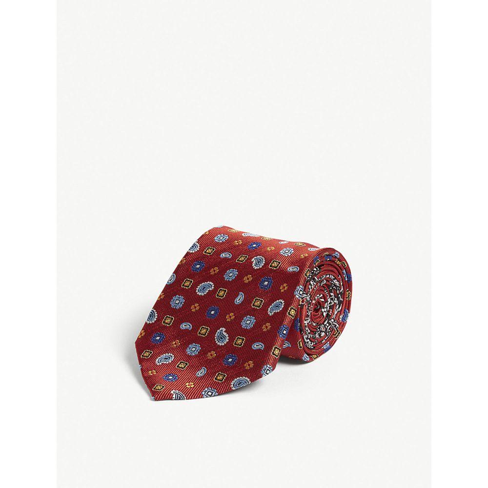 エトロ etro メンズ ネクタイ【floral paisley print silk tie】Red