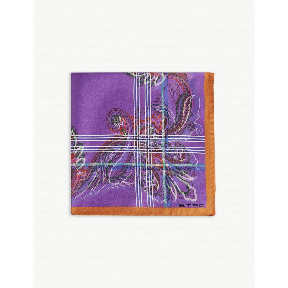 エトロ etro メンズ ハンカチ・チーフ【floral stripe silk pocket square】Navy