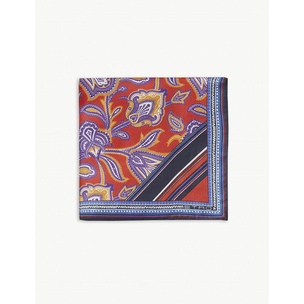 エトロ etro メンズ ハンカチ・チーフ【paisley print silk pocket square】Red