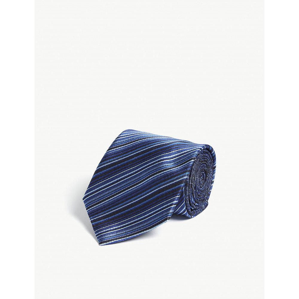 エトロ etro メンズ ネクタイ【stripe and paisley print silk tie】Navy