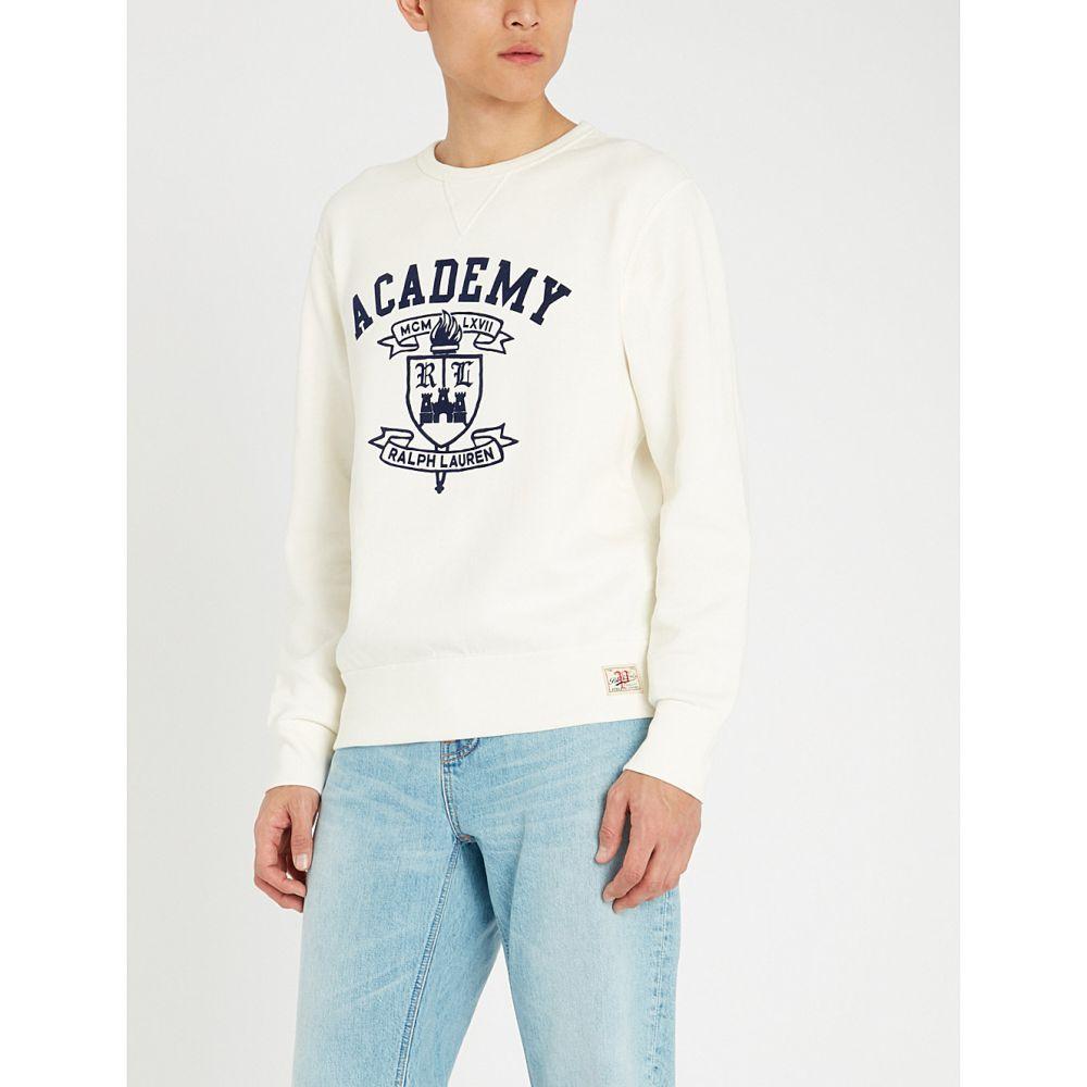 ラルフ ローレン polo ralph lauren メンズ トップス スウェット・トレーナー【logo-printed cotton-blend jersey sweatshirt】Deckwash white
