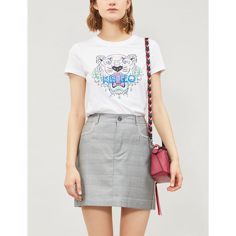 ケンゾー kenzo レディース トップス Tシャツ【tiger-print cotton-jersey t-shirt】White