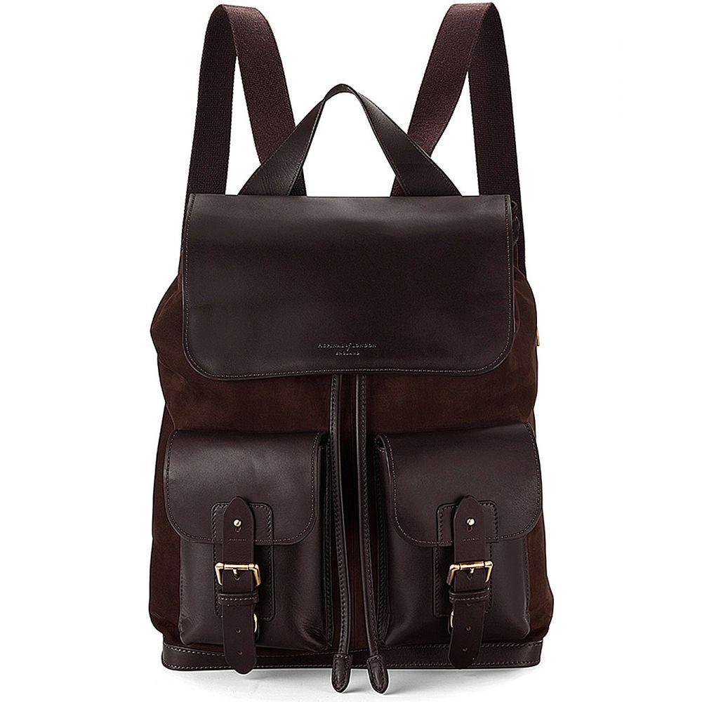 アスピナル オブ ロンドン aspinal of london メンズ バッグ バックパック・リュック【shadow nubuck and leather rucksack】Brown