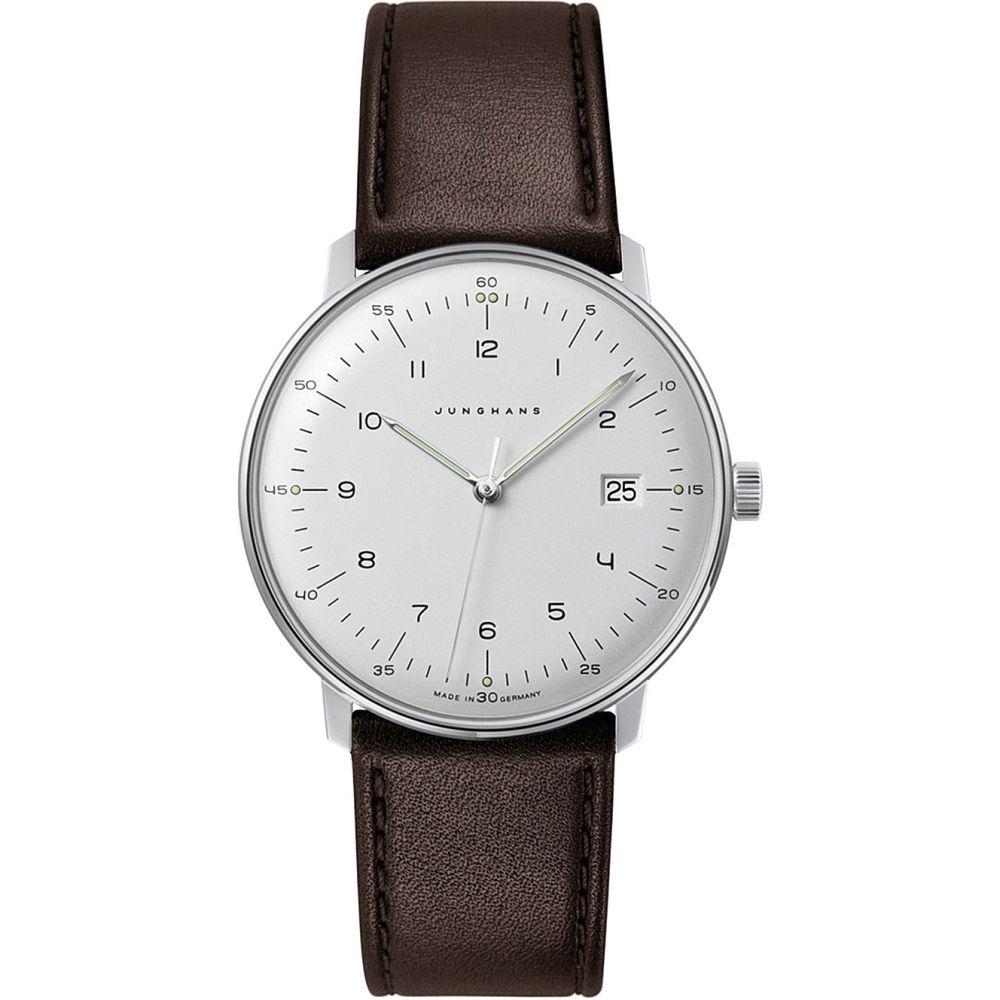 ユンハンス junghans メンズ 腕時計【041/4461.00 max bill stainless steel and leather quartz watch】Silver