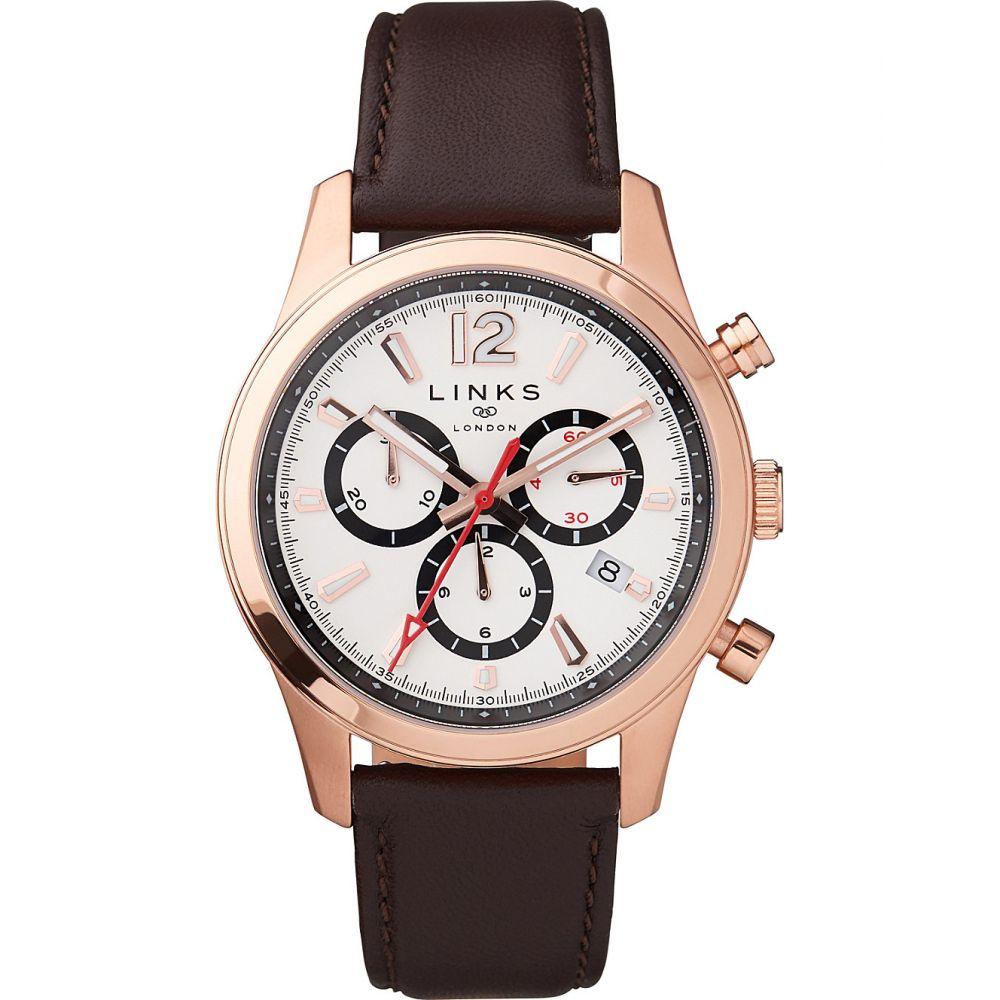 リンクス オブ ロンドン links of london レディース 腕時計【greenwich noon chronograph rose gold-toned watch】Brown