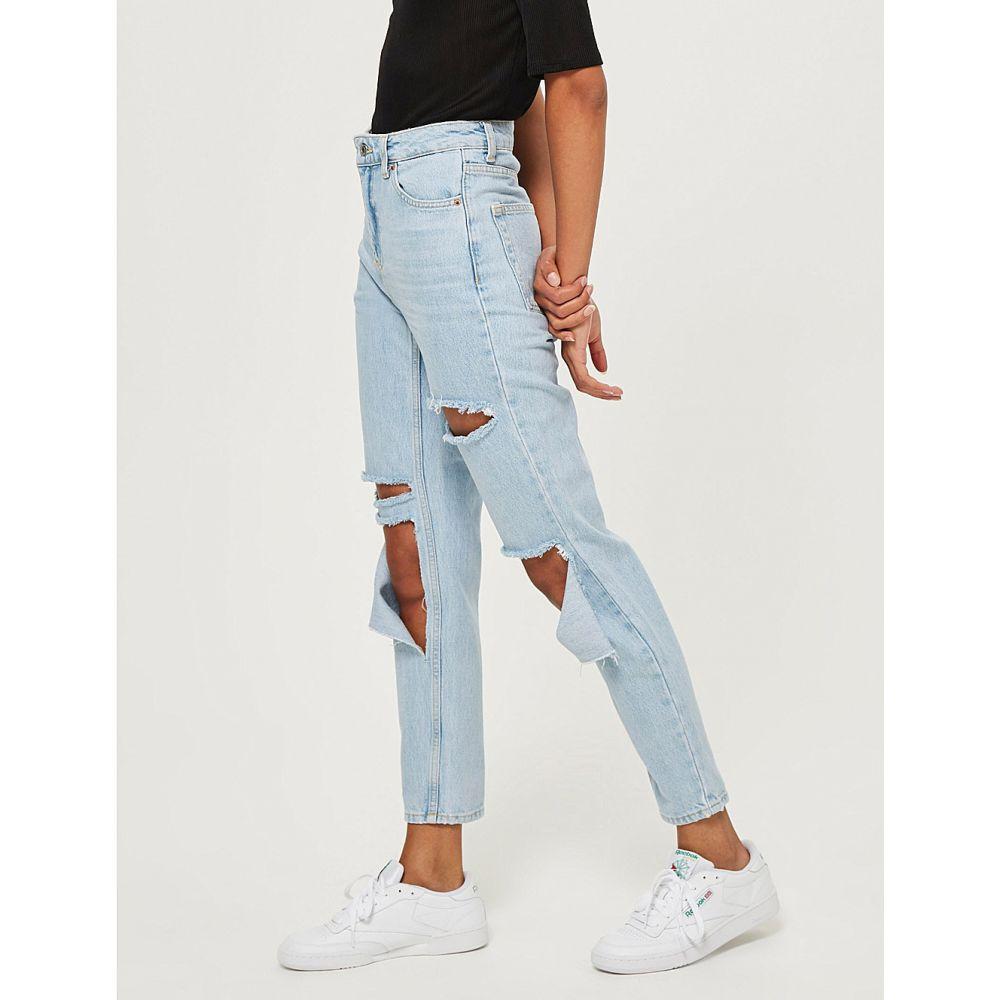 トップショップ mom-fit topshop レディース ボトムス・パンツ ジーンズ・デニム【high-rise トップショップ mom-fit ripped tapered ripped jeans】Bleach denim, リライアブルプラス1:e001514d --- sunward.msk.ru