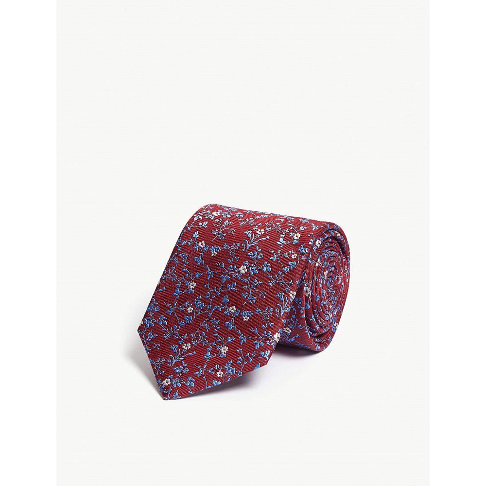 イートン eton メンズ ネクタイ【floral print silk tie】Pink/red