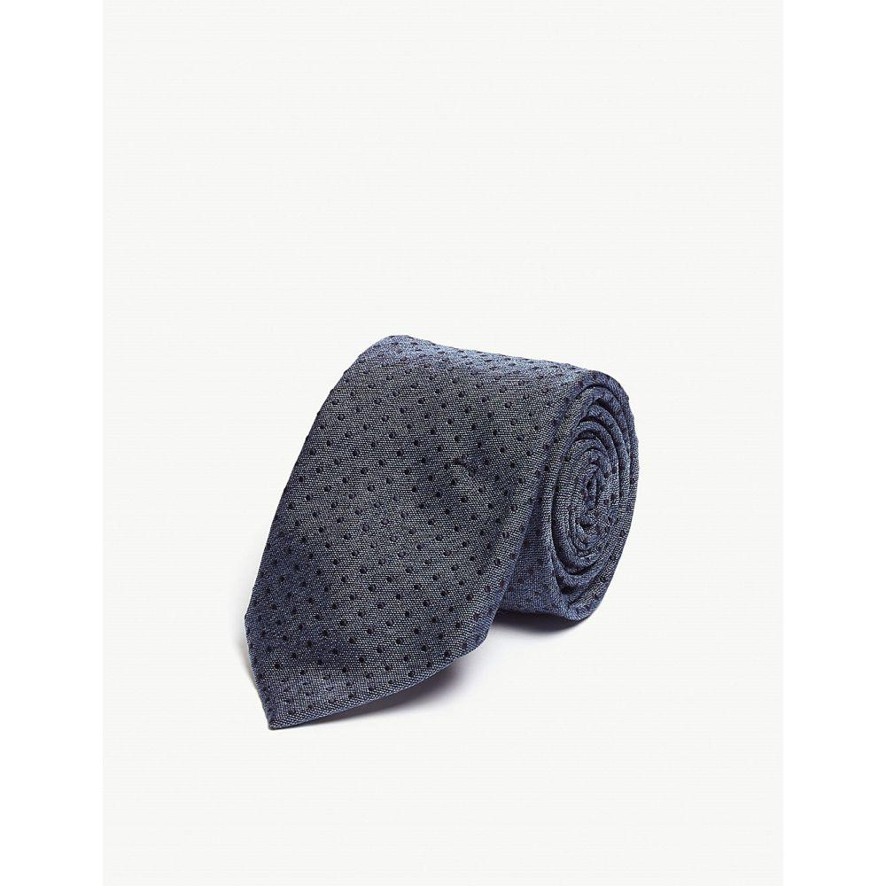 イートン eton メンズ ネクタイ【pin-dot silk-blend tie】Blue