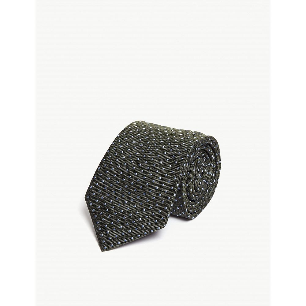 イートン eton メンズ ネクタイ【pin-dot silk-blend tie】Green