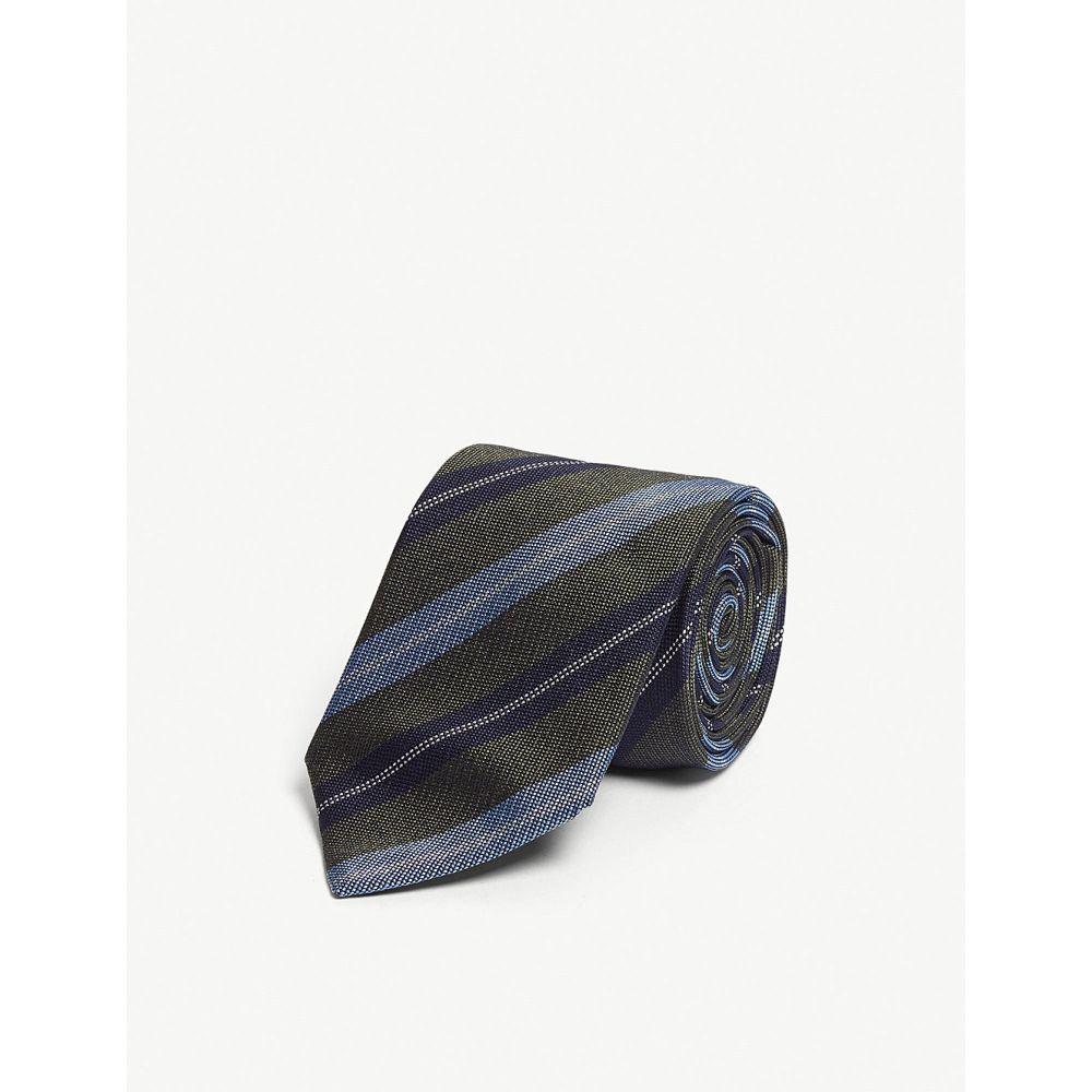 イートン eton メンズ ネクタイ【diagonal stripe silk-blend tie】Green