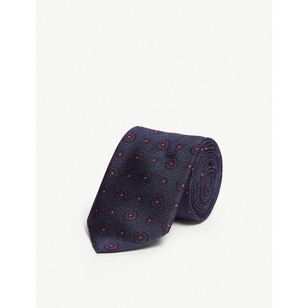 イートン eton メンズ ネクタイ【medallion print silk tie】Blue