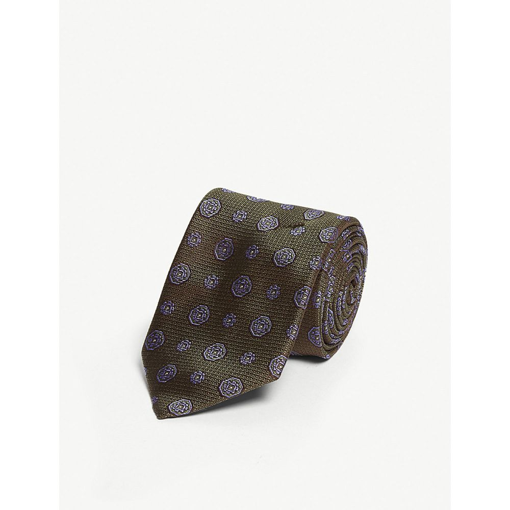 イートン eton メンズ ネクタイ【medallion print silk tie】Green