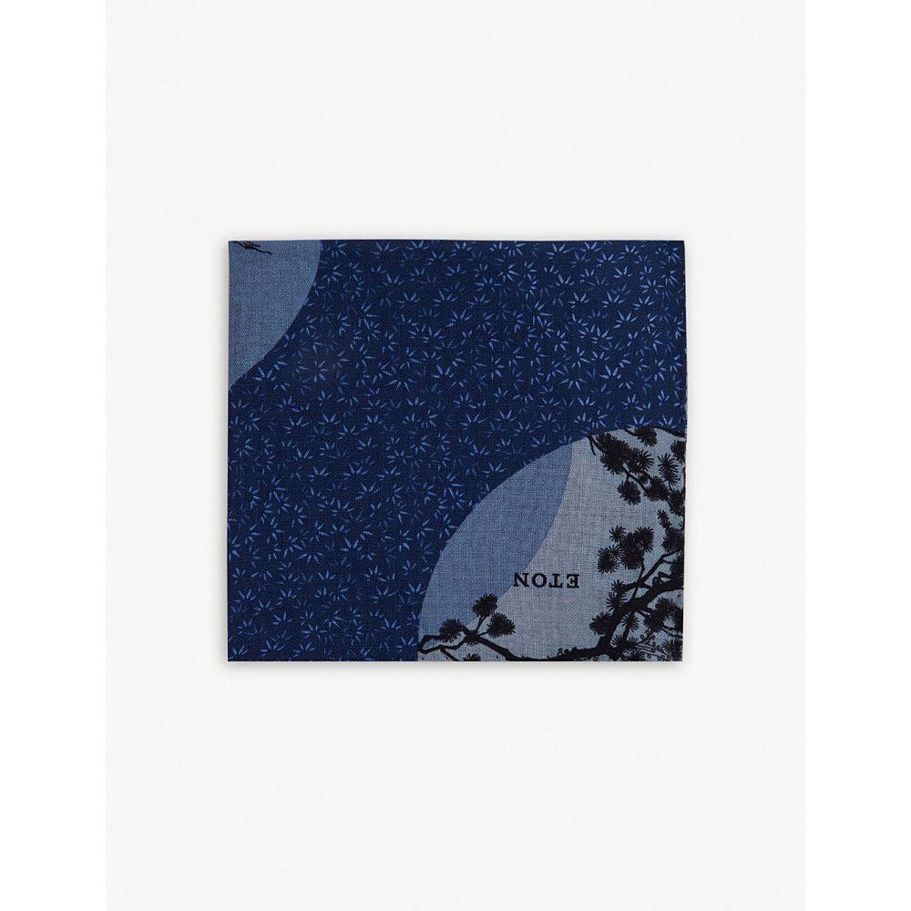 イートン eton メンズ ハンカチ・チーフ【blossom pocket square】Blue