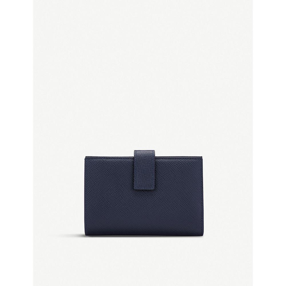 スマイソン smythson レディース 財布【panama small cross-grain leather continental purse】Navy