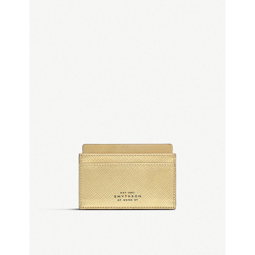 スマイソン smythson レディース カードケース・名刺入れ【panama cross-grain leather card holder】Gold