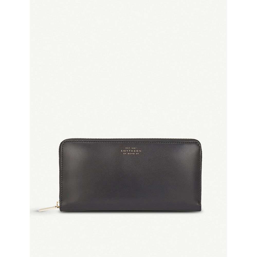 スマイソン smythson レディース 財布【wigmore large leather continental wallet】Black
