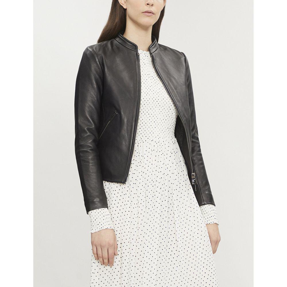 リース reiss レディース アウター レザージャケット【aries leather jacket】Black