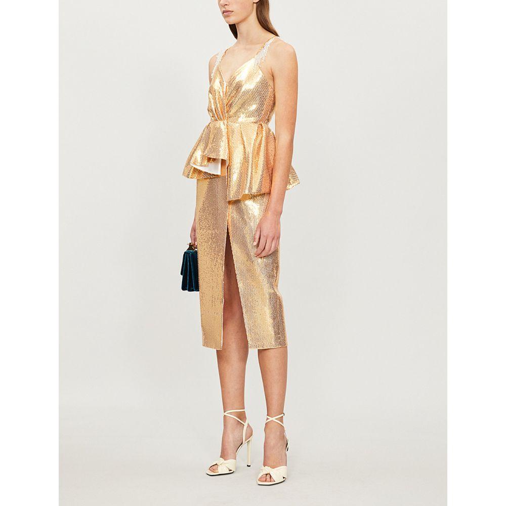 フーシャン ツァン huishan zhang レディース ワンピース・ドレス パーティードレス【bloomfield sequinned gown】Gold