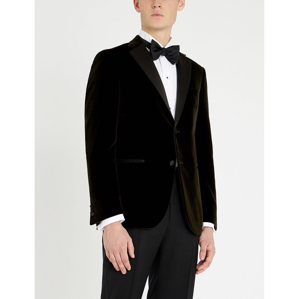 コルネリアーニ corneliani メンズ アウター スーツ・ジャケット【academy-fit peak-lapel cotton-velvet and satin tuxedo jacket】Dk green black