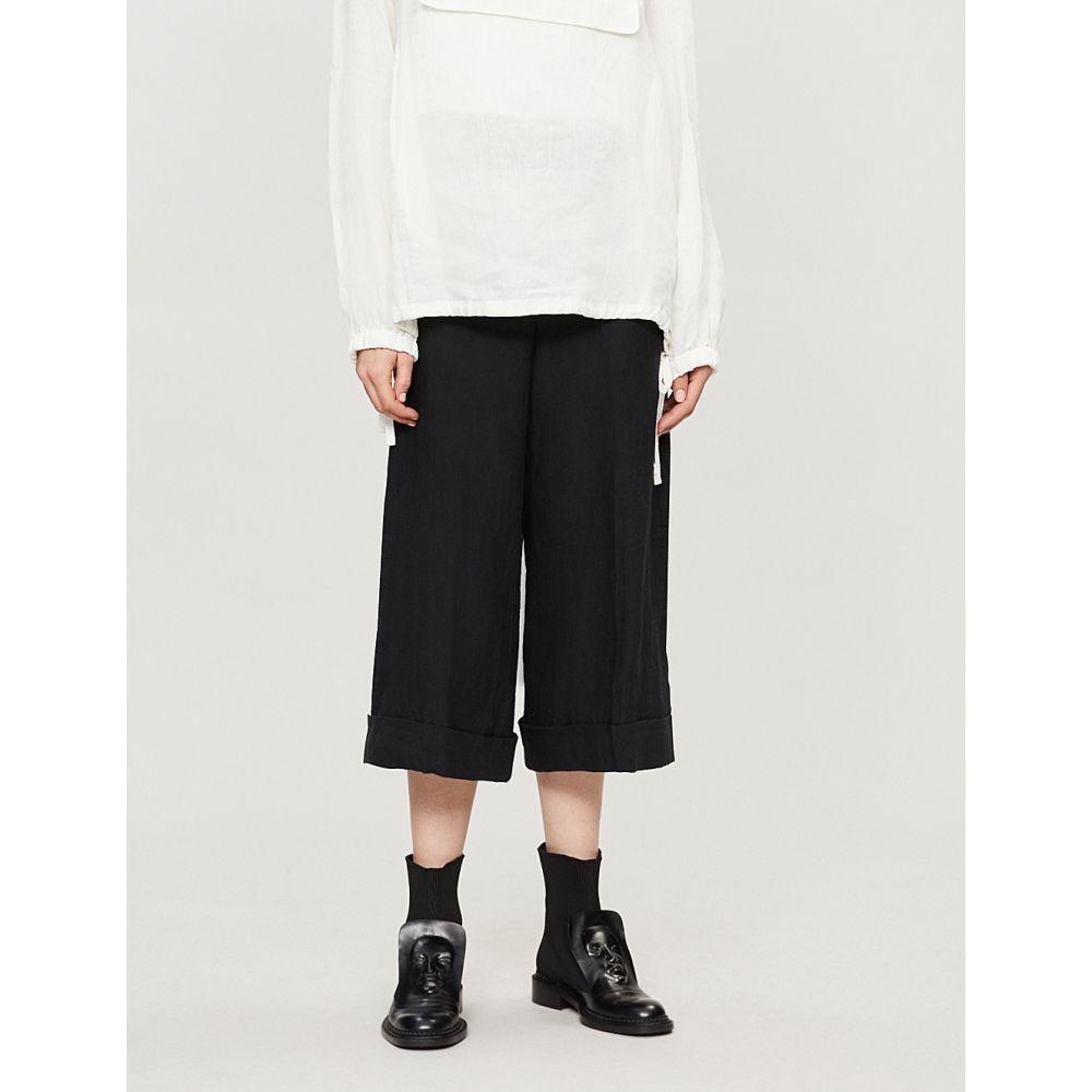 ヨウジヤマモト yohji yamamoto レディース ボトムス・パンツ クロップド【wide cropped linen trousers】Black