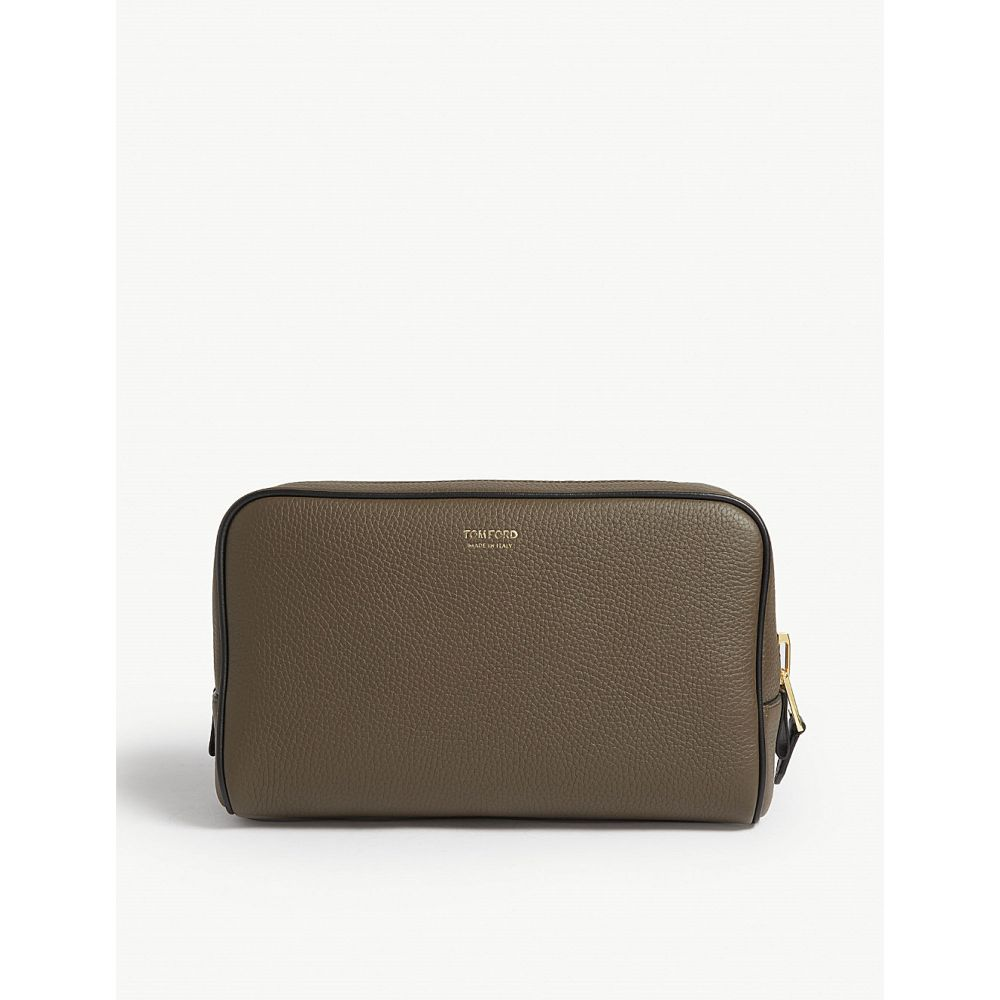 トム フォード tom ford メンズ ポーチ【small pebbled leather wash bag】Khaki