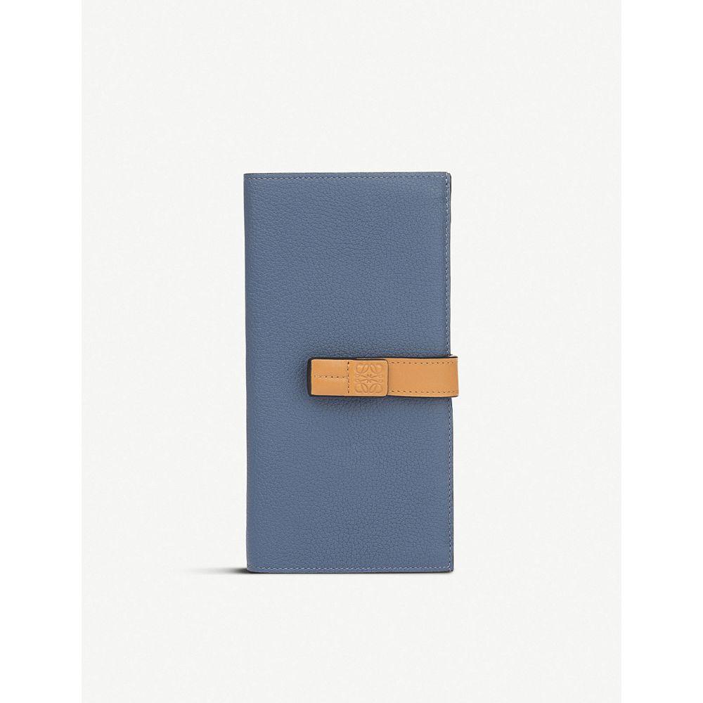 ロエベ loewe レディース 財布【large vertical calfskin wallet】Varsity blue/honey