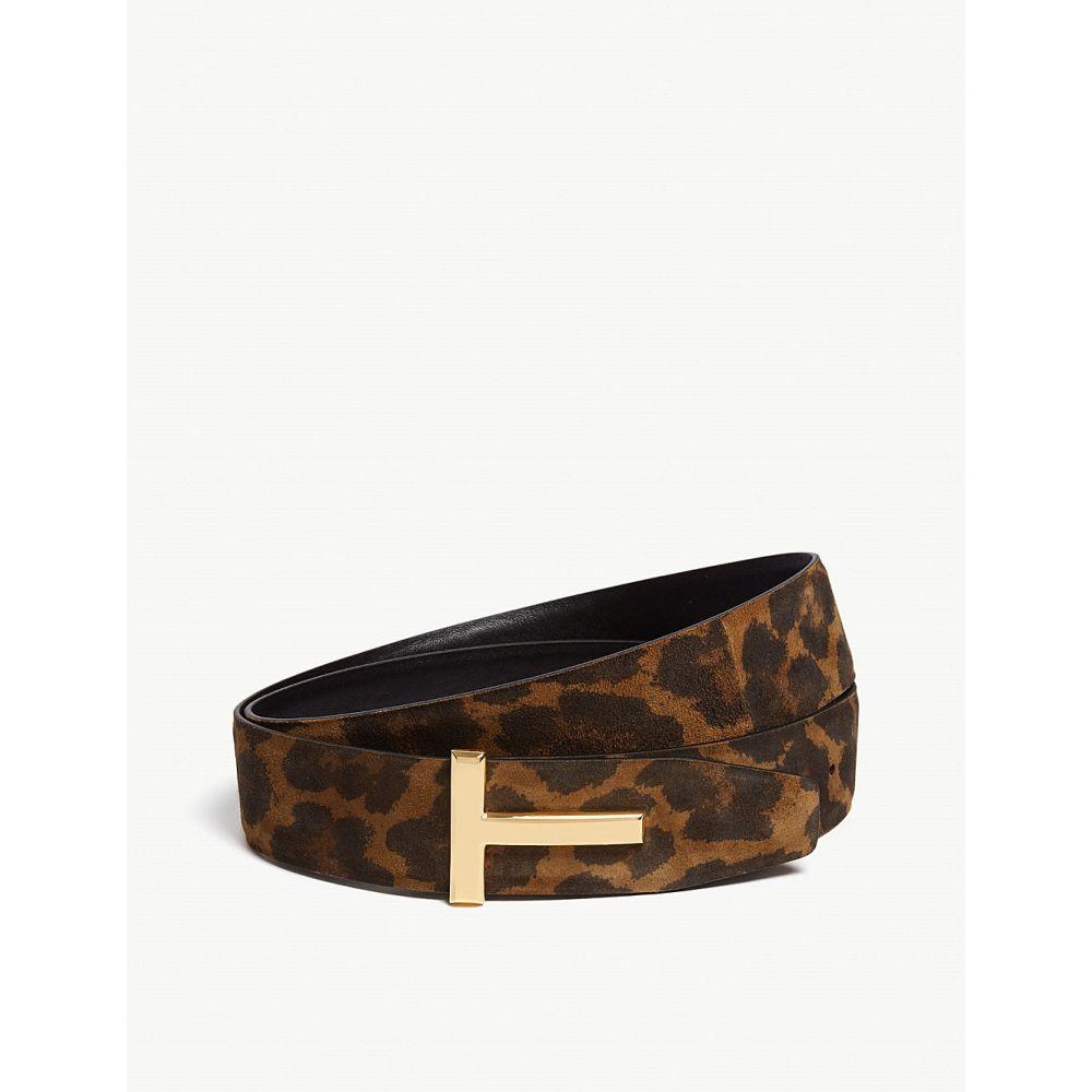 トム フォード tom ford メンズ ベルト【icon leopard print nubuck leather belt】Black