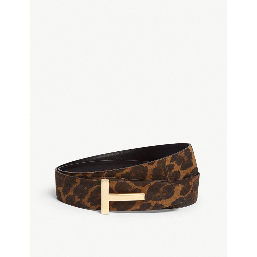 トム フォード tom ford メンズ ベルト【icon leopard print nubuck leather belt】Leopard