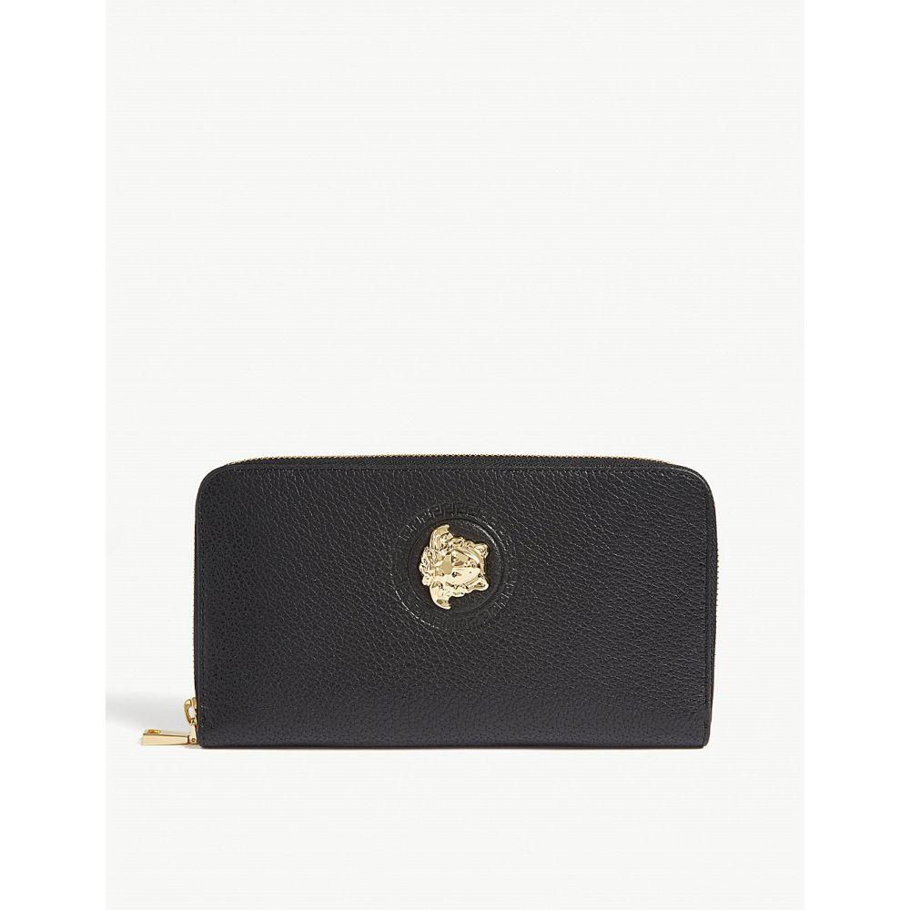 ヴェルサーチ versace メンズ 財布【grained leather long wallet】Black gold