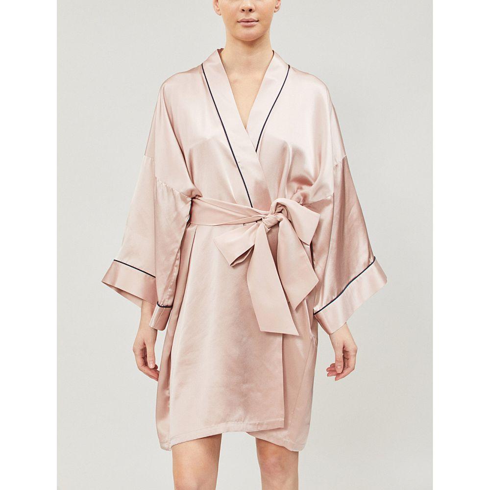オリヴィア ヴォン ホール olivia von halle レディース インナー・下着 ガウン・バスローブ【contrast piping silk-satin robe】Oyster