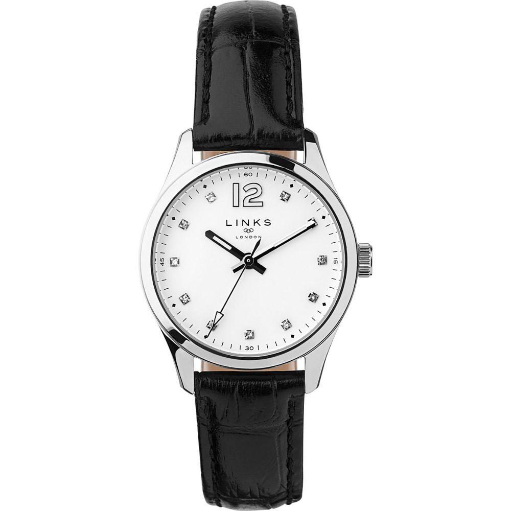 リンクス オブ ロンドン links of london レディース 腕時計【greenwich noon stainless steel and leather watch】Black