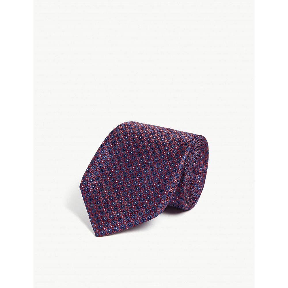 カナーリ canali メンズ ネクタイ【geometric floral silk tie】Red