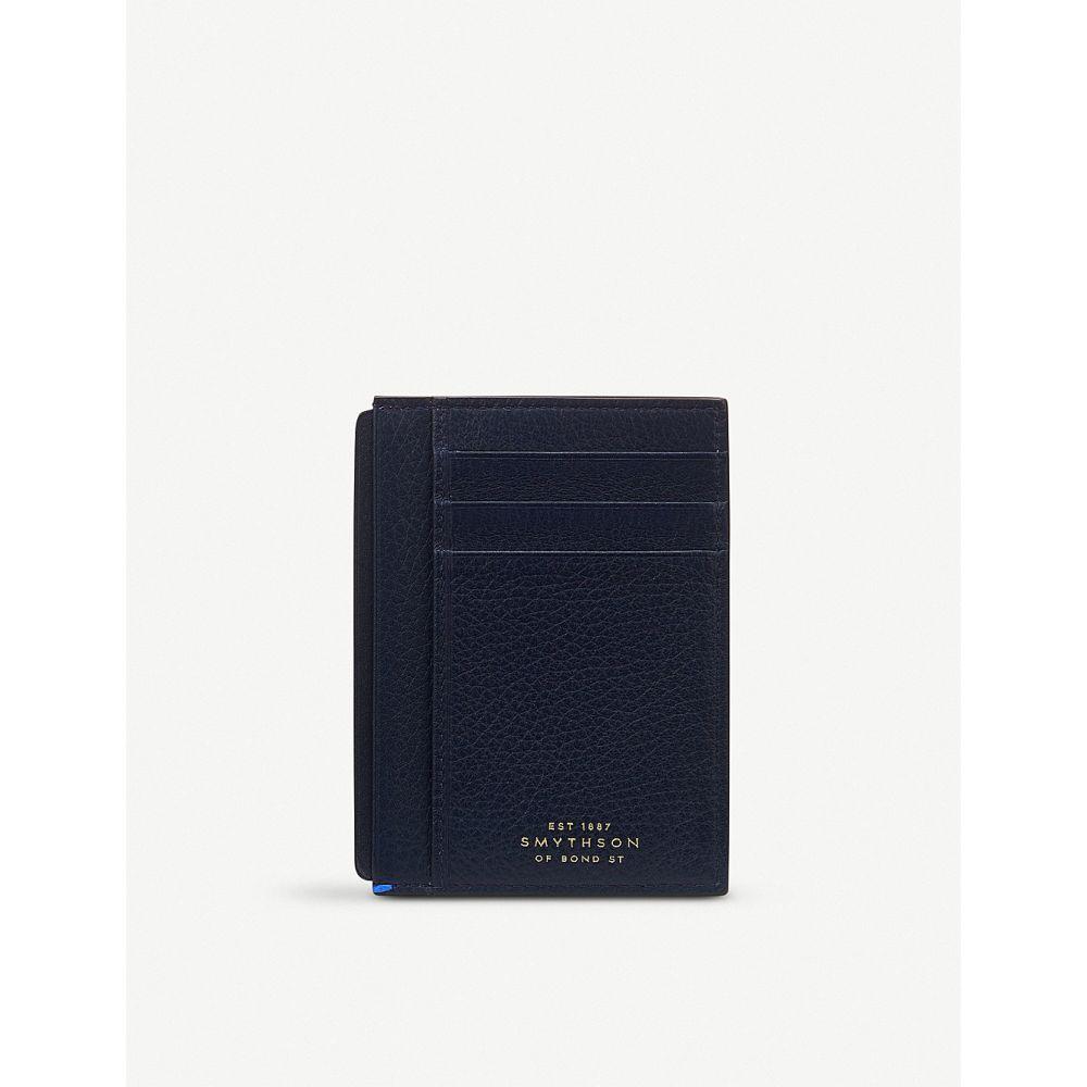 スマイソン smythson メンズ カードケース・名刺入れ【burlington leather card and note holder】Navy