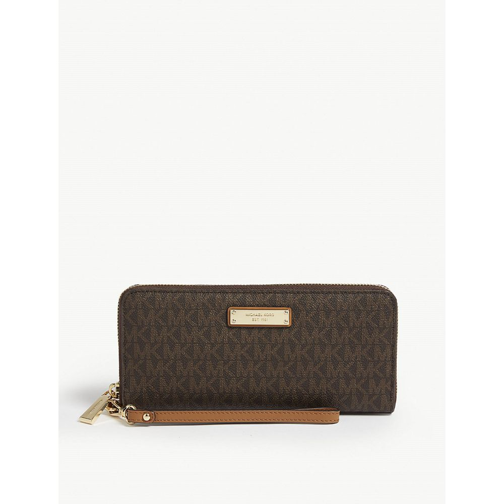 マイケル コース michael michael kors レディース 財布【logo coated canvas continental wallet】Brown