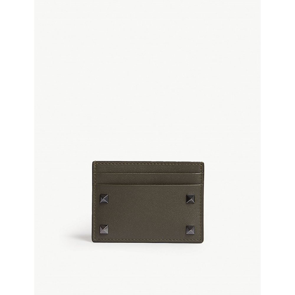 ヴァレンティノ valentino メンズ カードケース・名刺入れ【rockstud leather card holder】Olive