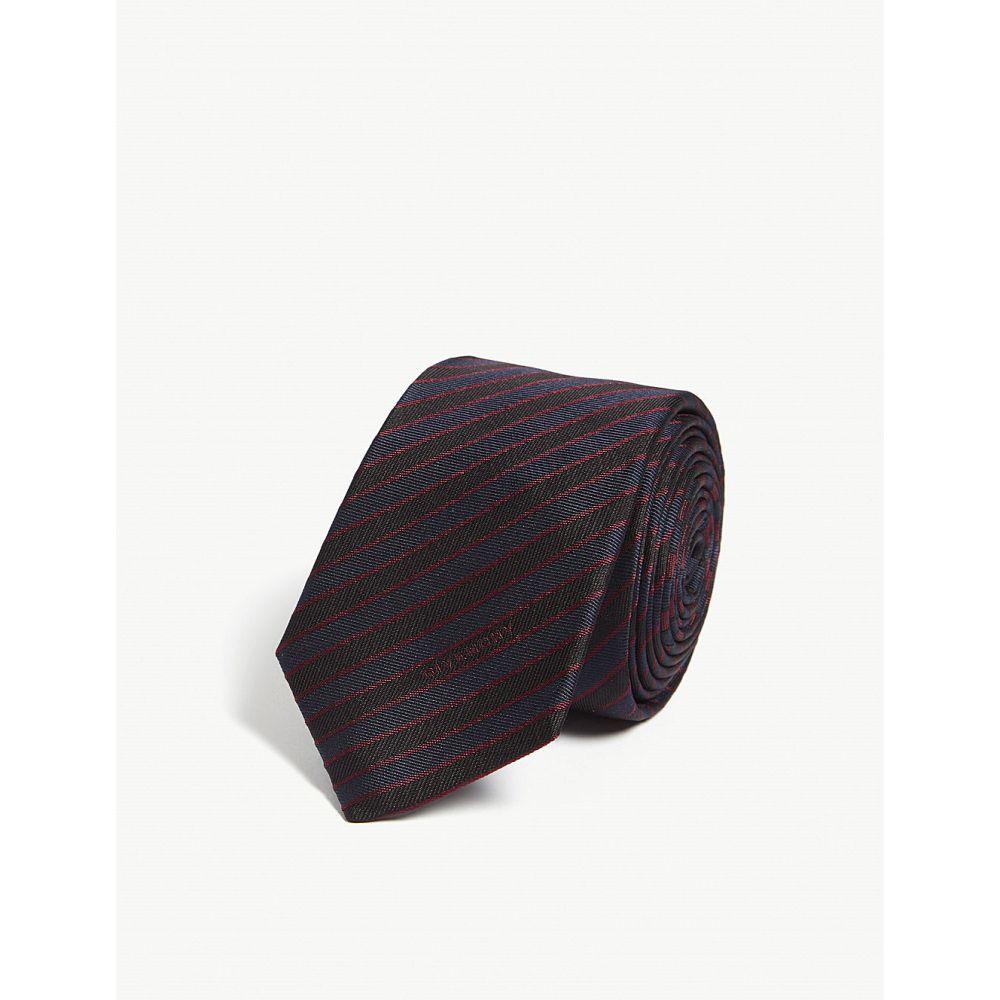 ジバンシー givenchy メンズ ネクタイ【striped silk tie】Navy