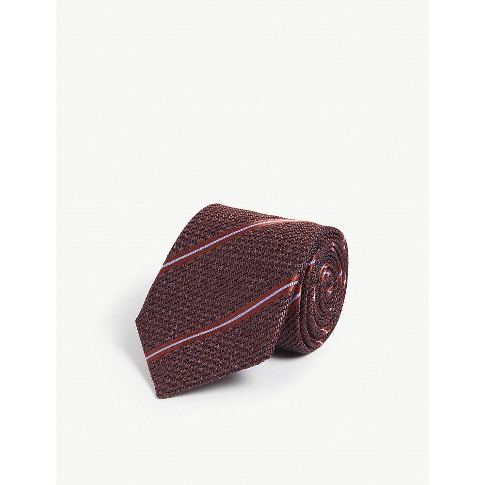 カナーリ canali メンズ ネクタイ【striped jacquard silk tie】Brown