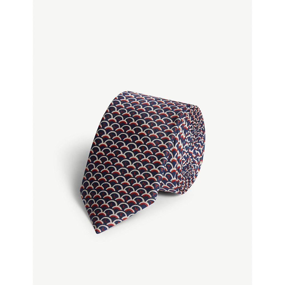 ヴァレンティノ valentino メンズ ネクタイ【micro scalloped silk tie】Marine mattone avorio