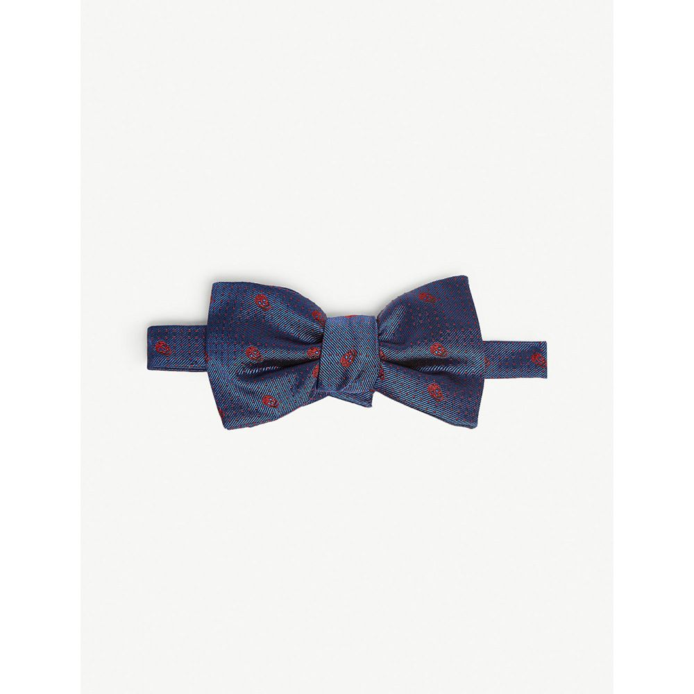 アレキサンダー マックイーン alexander mcqueen メンズ 蝶ネクタイ【skull and polka dot silk bow tie】Royal red