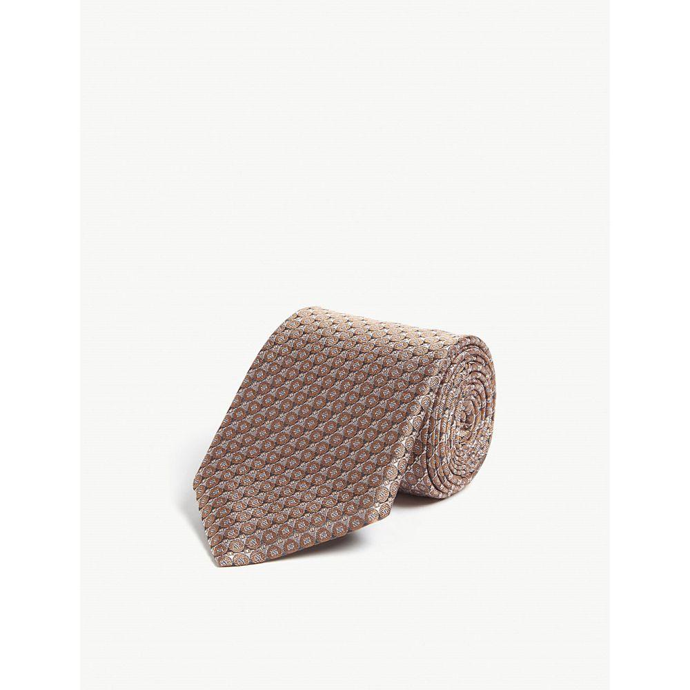 カナーリ canali メンズ ネクタイ【geometric pattern silk tie】Peach