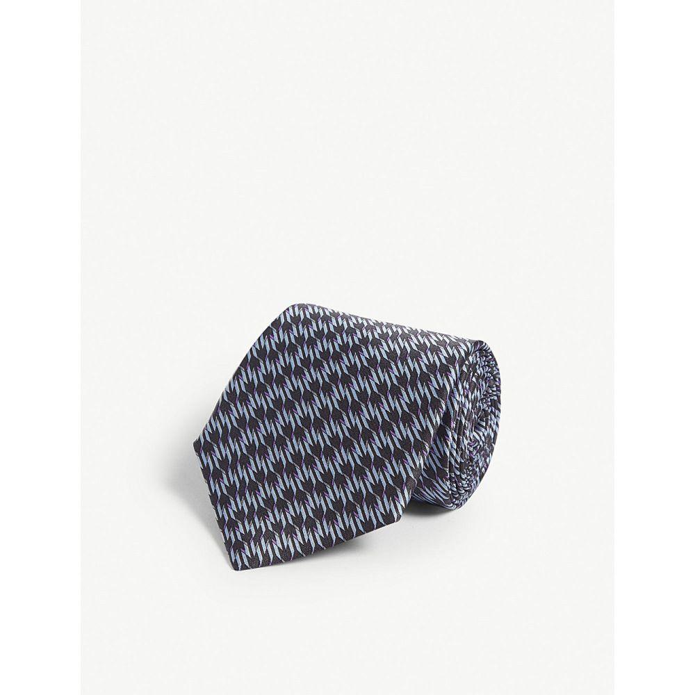 ランバン lanvin メンズ ネクタイ【geometric zig-zag silk tie】Grey