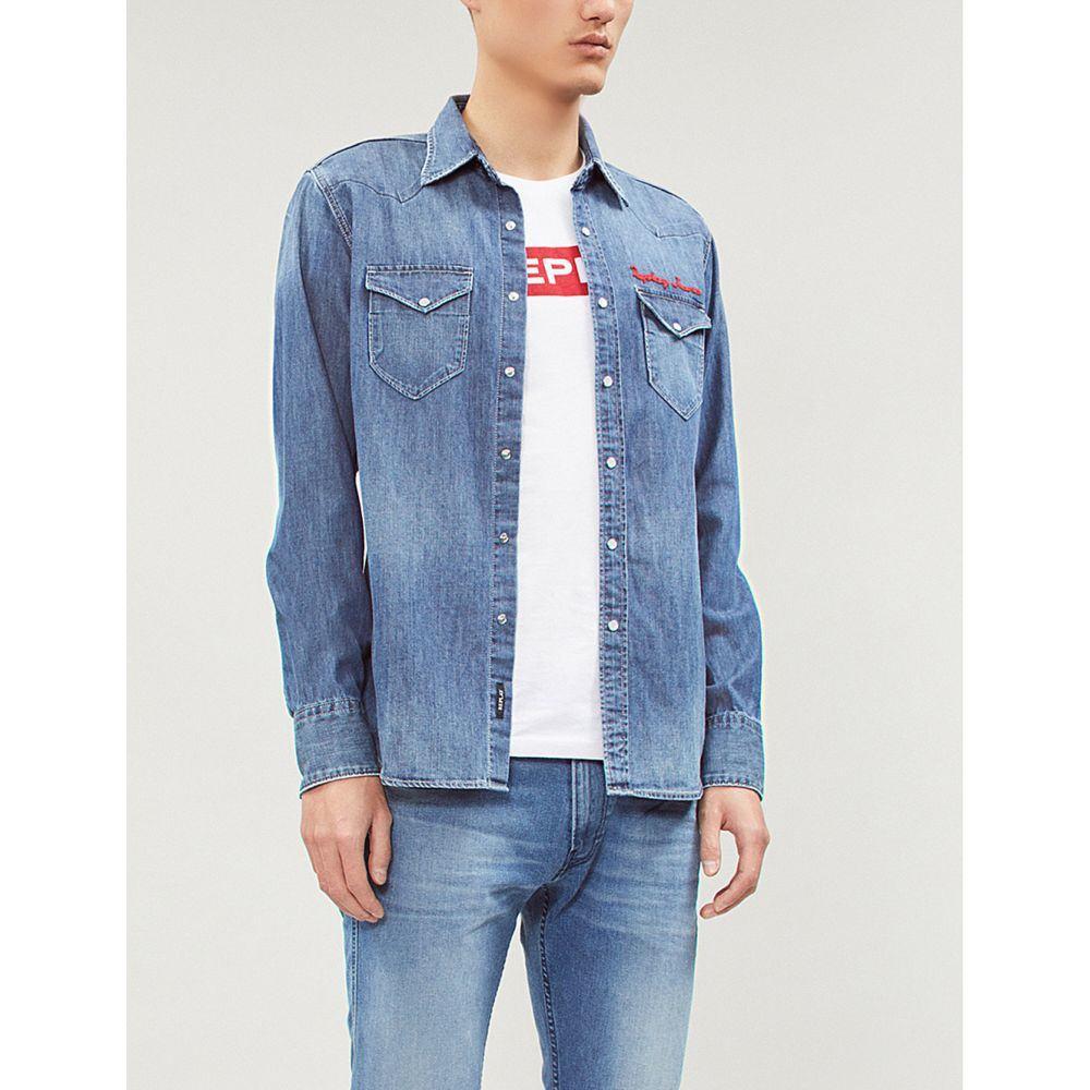 リプレイ replay メンズ トップス シャツ【logo-embroidered slim-fit denim shirt】Mid blue