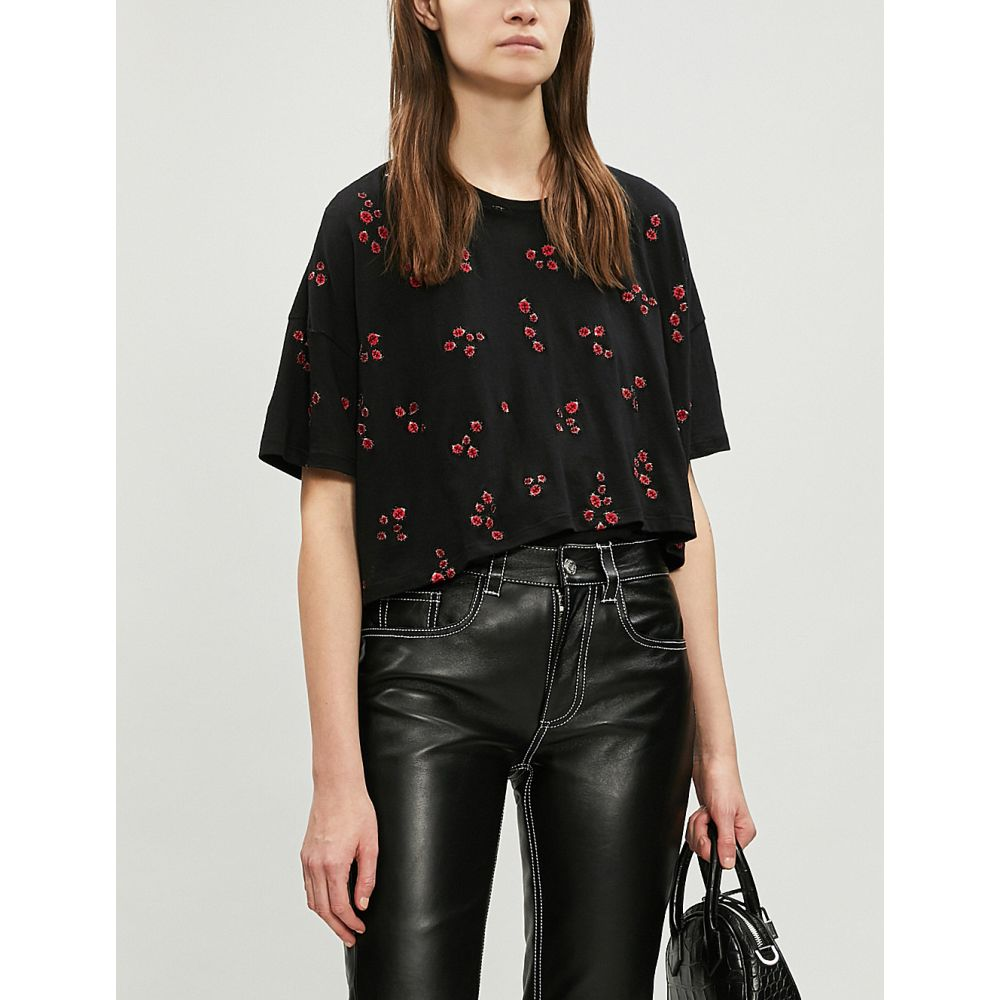 クーパース the kooples レディース トップス ベアトップ・チューブトップ・クロップド【ladybird-embroidered cropped cotton-blend t-shirt】Bla