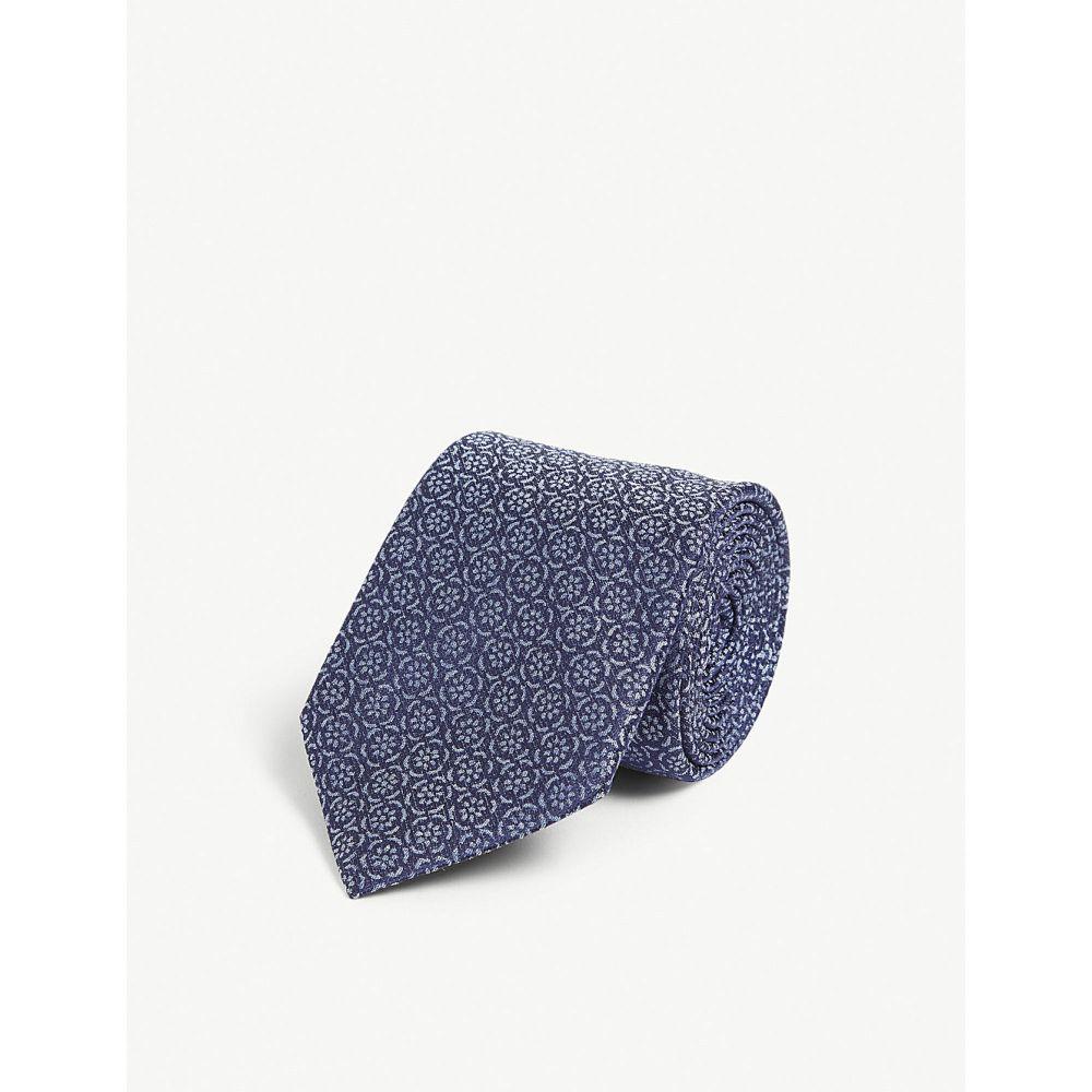 カナーリ canali メンズ ネクタイ【floral silk tie】Blue