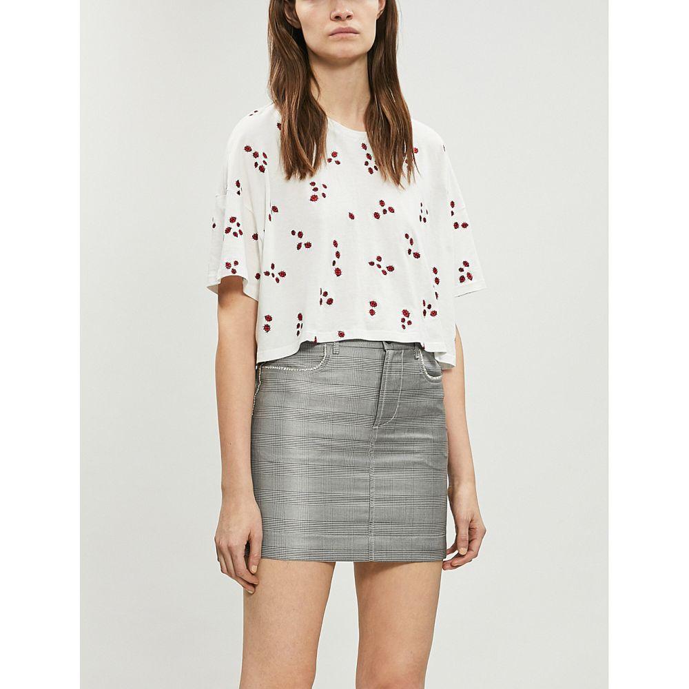 クーパース the kooples レディース トップス ベアトップ・チューブトップ・クロップド【ladybird-embroidered cropped cotton-blend t-shirt】Ecr