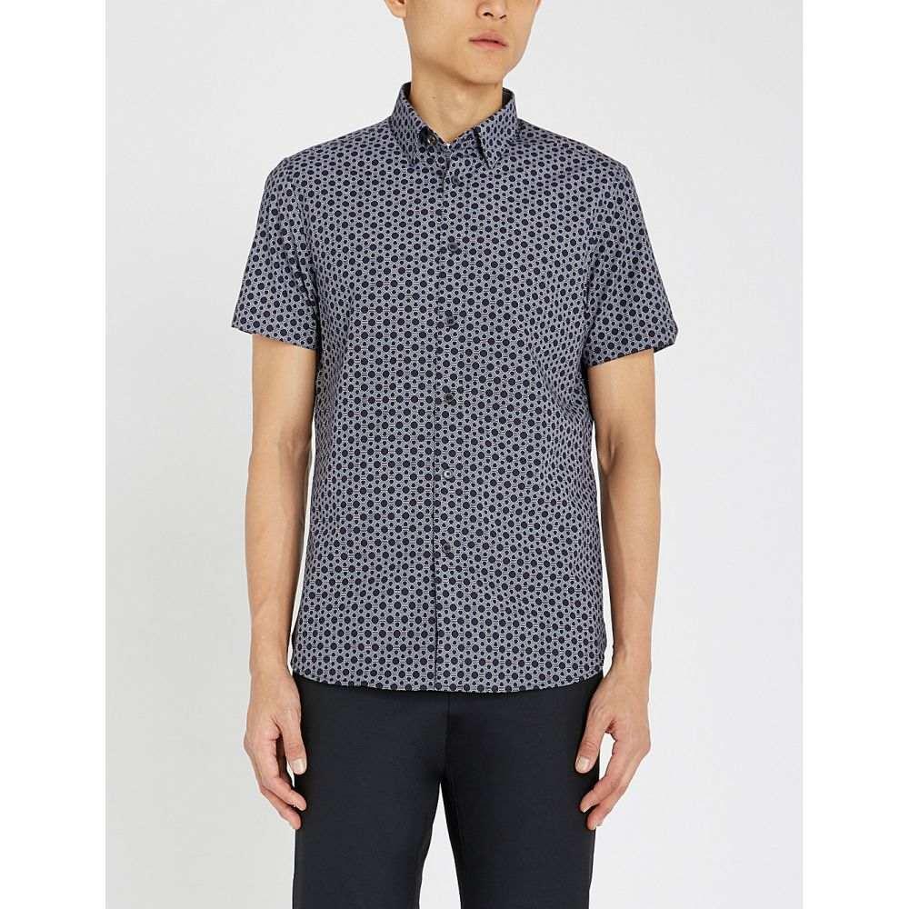 テッドベーカー ted baker メンズ トップス 半袖シャツ【enyone hexagonal print cotton shirt】Navy
