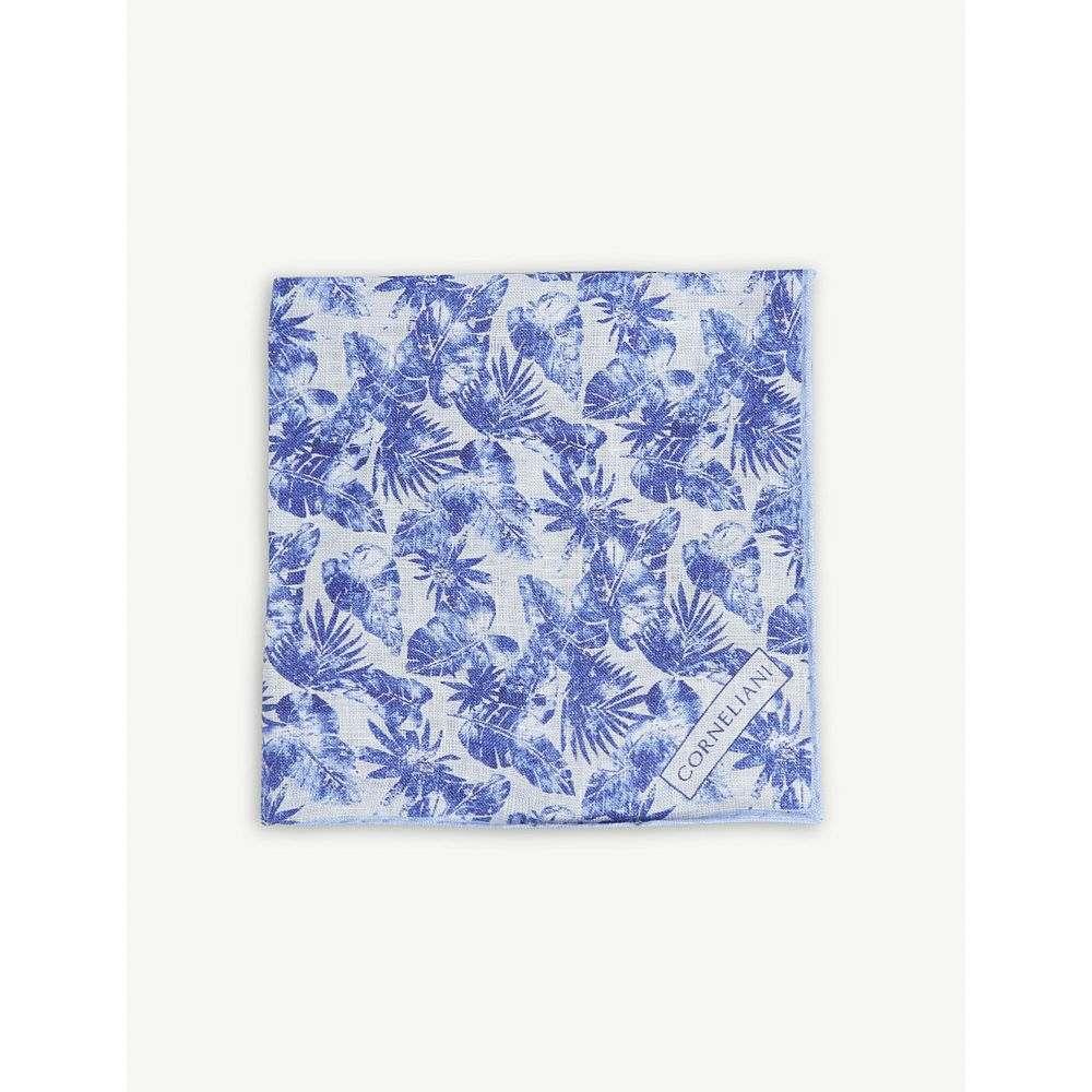 コルネリアーニ corneliani メンズ ハンカチ・チーフ【floral linen pocket square】Blue