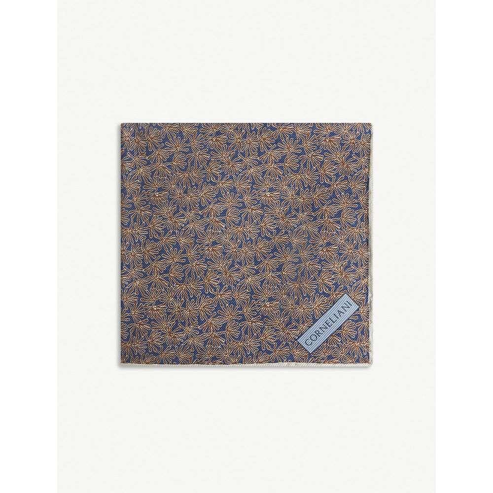 コルネリアーニ corneliani メンズ ハンカチ・チーフ【dandelion and dot silk pocket square】Navy