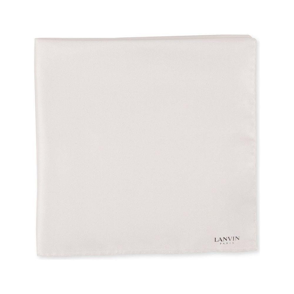 ランバン lanvin メンズ ハンカチ・チーフ【silk pocket square】White